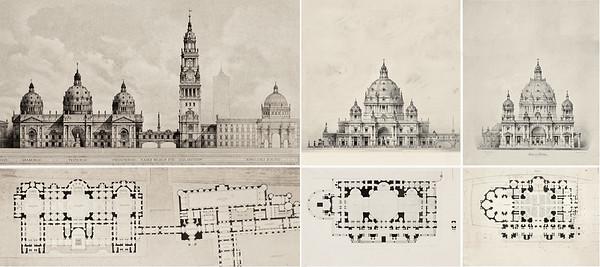05 Größenvergleich der Entwürfe I-III von Julius Carl Raschdorff