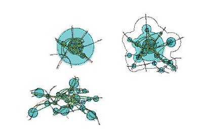 Räumliche Konfiguration der drei Stadtkonzepte: Europäische Stadt, Zwischenstadt und Netzstadt  © Johanna Schlaack