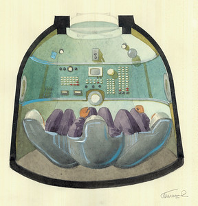 Entwurf für die Kommandozentrale des Raumschiffs Sojus mit den bis heute typischen Schalensitzen. Quelle: Archiv Galina Balaschowa | Design for the command centre of the Soyuz spacecraft with bucket seats that are still typical today. Source: Galina Balashova Archives