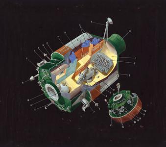 Entwurf für das Technikmodul der Raumstation Mir (1980)   Design for the technology module of the Mir space station (1980)