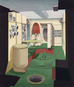 Entwurf der Kabine der Raumstation Mir, finale Variante der Innenausstattung (1980) | Design for the cabin of the Mir space station, final variant of the interior fittings (1980)