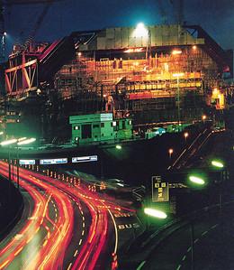 06 ICC Berlin: Der Baubetrieb ging rund um die Uhr, nächtliche Baustelle im November 1977.
