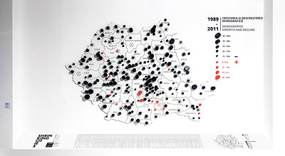 "08 Maps and Infographics from the ""Information Filter"", Shrinking Cities in Romania exhibition."