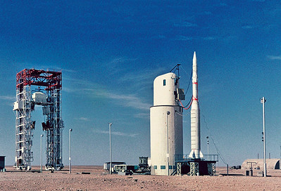 Launch pad for satellite launches at Hammaguir. A rocket can be seen installed on the launch platform while connected to the servicing tower. Source: Centre National d'Etudes Spatiales