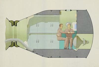 Section of the interior of the Lunnyi Orbital'nyi Korabl' (Soyuz 7K-L3), 1970Source: Galina Balashova Archives
