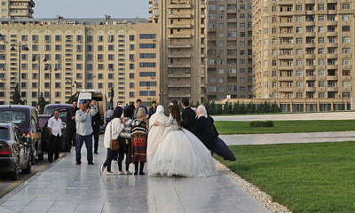 03 Wedding party in front of new residential buildings, Baku.