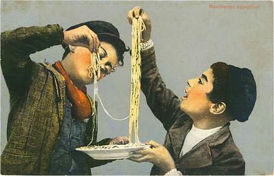 »Unter solchen Fertigkeiten ist nicht die letzte, Maccaroni mit den Händen zu essen. Gegen Entgelt zeigt man es Fremden« Bild: Archiv Detlev Schöttker