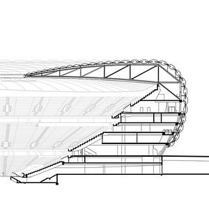 Tribünenquerschnitt Allianz Arena, München (Fußballweltmeisterschaft 2006)