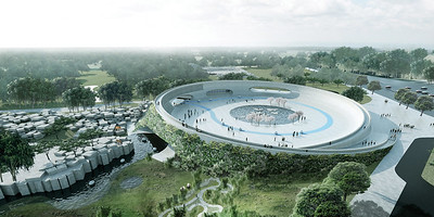 04  Im dänischen Zoo Givskud hat BG einen kreisförmigen Platz entworfen, der die Besucher spiralförmig aufnimmt und auf die angrenzenden Bereiche, die Kontinente repräsentieren, verteilt | BIG designed a circular plaza for the Danish zoo Givskud which receives the visitors in a spiral flow and then distributes them to the adjacent areas which represent the continents