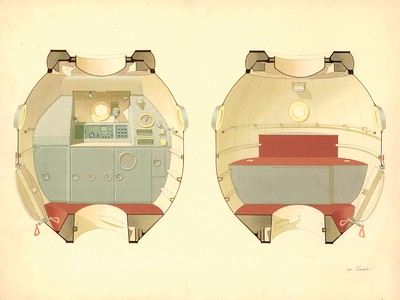 Farbstudie für den Wohnbereich des Raumschiffs Sojus-M (1970 – 1974, Entwurf nicht realisiert). Quelle: Archiv Balaschowa