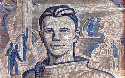 Wandmosaik mit dem Porträt Juri Gagarins im Foyer des Planetariums in Swjosdny Gorodok. Foto: Philipp Meuser