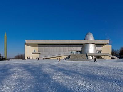 Museum für Kosmonautik in Kaluga, Südfassade (1967). Architekten: B. Barchin, J. Kirejew u. a. Foto: Philipp Meuser