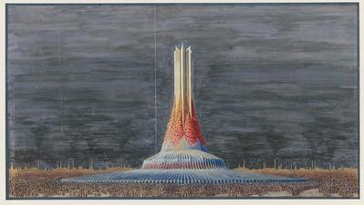 13 Wassili Luckhardt, Denkmal der Arbeit, um 1920, Gouache auf Zeichenkarton