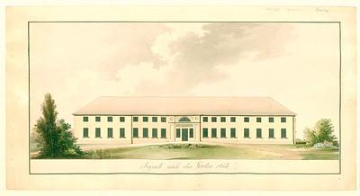 02 David Gilly, Schloss Paretz, Hauptansicht, um 1797–99, Feder auf Papier, aquarelliert, gezeichnet von Friedrich Gilly