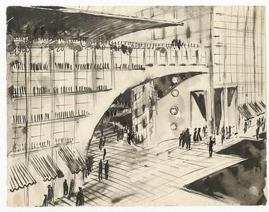 15 Hans Scharoun, Utopische Architektur, zwischen 1938 und 1945, Tusche auf Papier