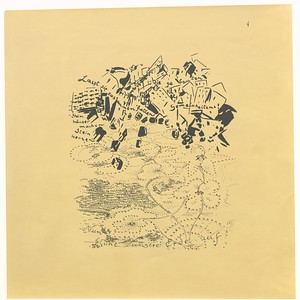 11 Bruno Taut, Lasst sie einfallen die gebauten Gemeinheiten! Zeichnung zur Publikation Auflösung der Städte, 1920, Tusche auf aquarelliertem Papier