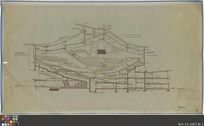 19 Hans Scharoun, Schnitt durch den Saal der Philharmonie, Berlin, 1964, Mutterpause