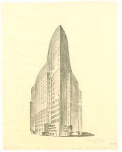 08 Hugo Häring, Wettbewerb Hochhaus Friedrichstraße, Berlin, 1922, Kohle auf Transparentpapier