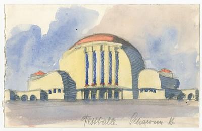 04 Hans Scharoun, Festhalle, 1913, Bleistift, Aquarell auf Papier