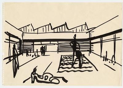 18 Werner Düttman, Akademie der Künste, Berlin-Tiergarten, 1958–60, Skizze, Filzstift auf Papier