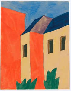 06 Paul Goesch, Hof zwischen Mietshäusern, undatiert, Bleistift und Gouache auf Papier