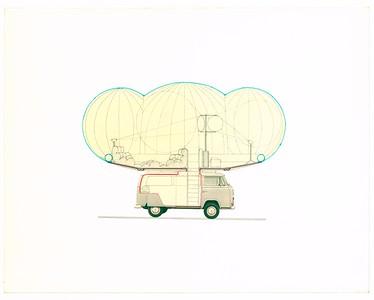 20 Haus Rucker CO, HRC-Bus, 1967, Farbstift, Collage auf Karton