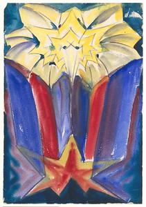 09 Hans Scharoun, Utopischer Architekturentwurf, um 1919–22, Graphit, Aquarell auf Papier