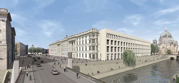 Schlossplatz mit südlichem Schlossflügel und dem Platz an der Spree sowie dem neuen Ostflügel