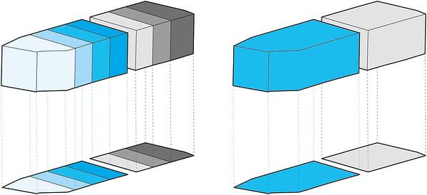 Visualierung Parzellierung am Friedrichswerder, städtebauliche Überlegungen zu Haustypologie nach Klaus Theo Brenner (links) versus Umsetzung durch zwei Projektentwickler