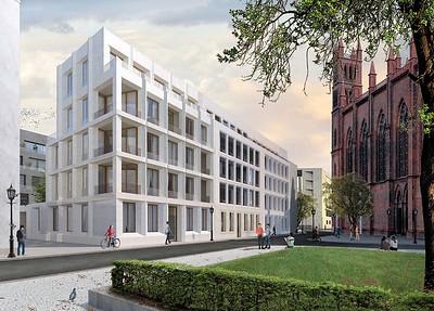 Ansicht der Wohnbebauung an der Niederlagstraße / Prinzengasse nach einem Entwurf von Hemprich Tophof mit Blick auf das Auswärtige Amt (im Hintergrund) und die Friedrichswerdersche Kirche (rechts)