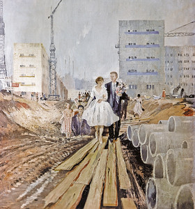 "01/01/1972 Wiedergabe von Yuri Pimenovs Gemälde ""Hochzeit auf der Straße von Morgen"" aus der Sammlung der staatlichen Tretyakov Gallerie.01/01/1972 Reproduction of Yuri Pimenov's painting Wedding on Tomorrow Street from State Tretyakov Gallery collection. Jurij Pimenov © Tretjakow-Galerie, RIA Novosti"