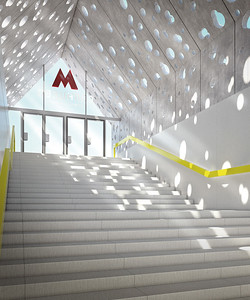 Competition-winning design project for Solntsevo Station on the Kalininsko-Solntsevskaya line. Architects: Nefa Architects, scheduled to be completed in 2017.Siegerentwurf Projekt Solntsevo Station an der Kalininsko-Solntsevskaya Linie. Architekten: Nefa Architects, voraussichtlicher Abschluss der Bauarbeiten 2017.Image: © Nefa Architects