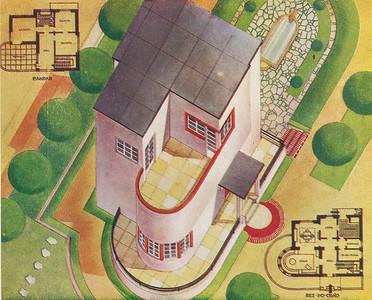 Bild 01: Casa da Eva, Entwurf von Luís Cristino da Silva, 1933. Der Wettbewerbsbeitrag von Cristino da Silva für ein Wohnhaus war in seiner Formensprache und in seinem Verzicht auf dekorative Elemente radikal. Die Grundrisse, die die Axonometrie unten rechts und oben links erläuternd ergänzten, zeigten jedoch einen zeittypischen Lösungsansatz.