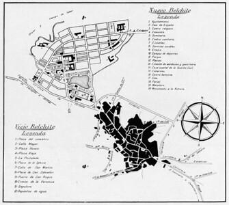 """06 Stadtgrundriss des doppelten Belchite: oben das neue Belchite, unten das alte (Ruinen-)Belchite, veröffentlicht im ersten Heft der Zeitschrift """"Reconstrucción"""", 1940."""