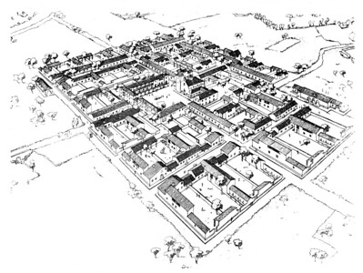 10 Gimenells: Zeichnung des Kolonistendorfs, Alejandro de la Sota, 1944.