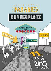 16 Straßenfest am Bundesplatz, dem Herzstück der Bundesallee, initiiert von der Initiative Bundesplatz, Oktober 2015. Die Bundesallee ist nicht irgendeine Straße, der Bundesplatz nicht irgendein Platz. Beide fallen schon durch ihren besonderen Namen auf, sie bilden überdies eine der auffälligsten städtebaulichen Figuren im Berliner Stadtgrundriss. Sie sind beide – neben der Stadtautobahn – die eindringlichsten Zeugen des Umbaus West-Berlins zu einer autogerechten Stadt. Seit 2010 setzt sich die Initiative Bundesplatz, eine der größten Bürgerinitiativen Berlins, für die Wiederbelebung des Platzes als Aufenthaltsort, für die Eindämmung des Autoverkehrs und mittelfristig für die Aufgabe des Tunnels ein – bislang, trotz aller verbalen Unterstützung, mit begrenztem Erfolg
