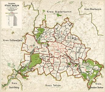 08 Übersichtsplan nach dem Groß-Berlin-Gesetz vom 27. April 1920 mit 20 Verwaltungsbezirken und Dauerwaldflächen