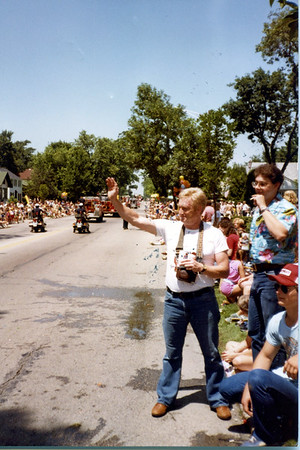 RED WITH JOHN GREEN AND A VERY YOUNG JOE CONWAY AT A 1986 4th of JULY PARADE