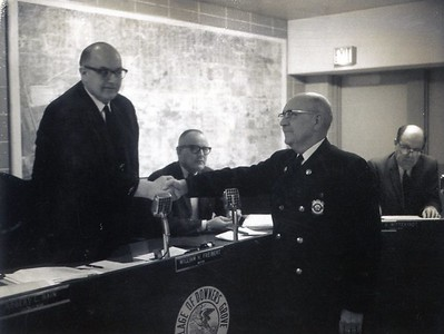 MAYOR FRANK HOUK AND ART GREINER 1-17-1968  APPOINTED CHIEF OF FIRE PREVENTION