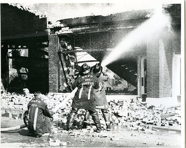 (8-9-72)  HINSDALE REPAIR GARAGE FIRE  L-R  TOM SMOOT, TERRY REITER AND RUSS SCHULTZ