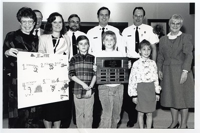 EARLY POSTER CONTEST WINNERS FRANK TUGGLE, LARRY BEYER AND MAYOR CHEEVER 4-8-88