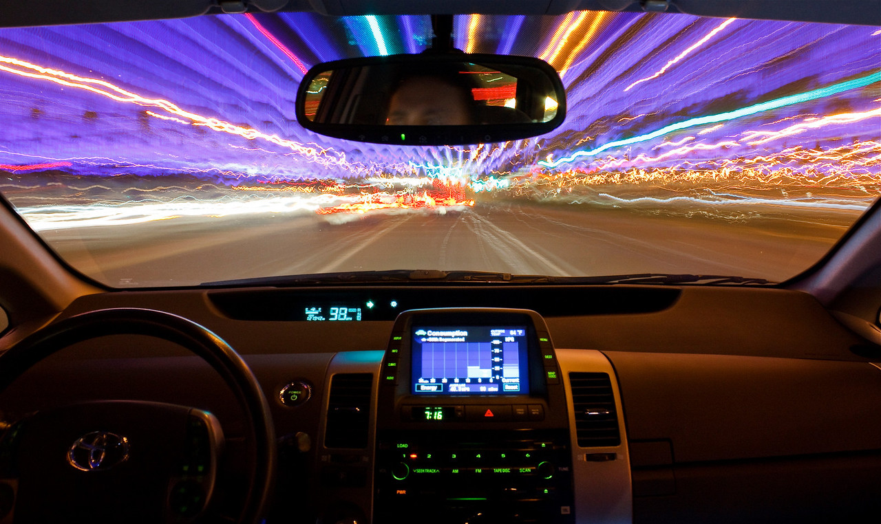 "Assignment 1 - Motion in Photography<br /> ISO 200  f11 @ 10 Seconds  0 EV    Lit with off-camera strobe in passenger seat with LumiQuest Bounce.<br /> <br /> Title: Warp Speed<br /> 2nd Place in ""The Original Photography Competition"" community (Motion) competition of Inspire 2011: <a href=""http://inspi.re/"">http://inspi.re/</a>"