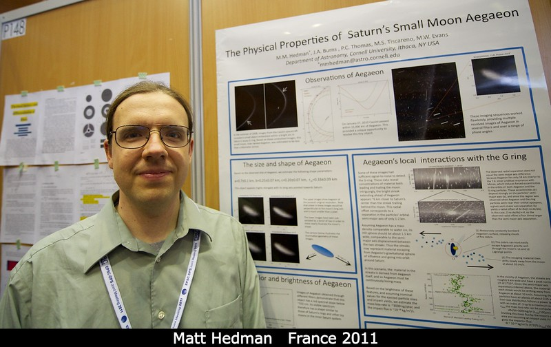 Matt Hedman (Cornell) loves Saturn's G ring. But who doesn't?<br /> <br /> Credit: Henry Throop<br /> Oct 2011