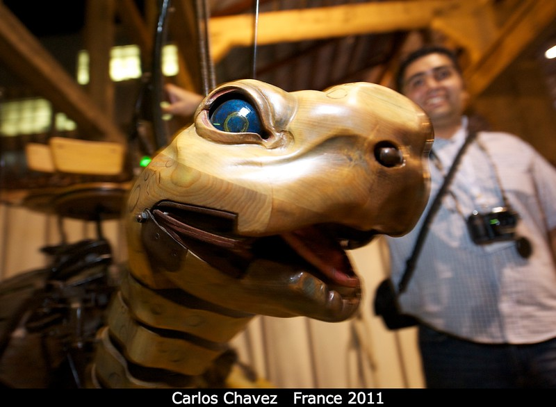 Carlos Chavez (UNAM - Ensenada, Mexico) drives the turtle. My understanding is that the turtle is designed to go on an amazing underwater-themed carousel currently being built in Nantes.<br /> <br /> Credit: Henry Throop<br /> Oct 2011