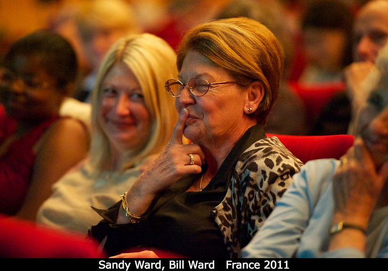 Sandy Ward and their daughter watch, as Bill gives a very appreciative thank you.<br /> <br /> Credit: Henry Throop<br /> Oct 2011
