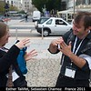 Esther Tallifet and Sebastien Charnoz (U. Paris) discuss orthogonality.<br /> <br /> Credit: Henry Throop<br /> Oct 2011