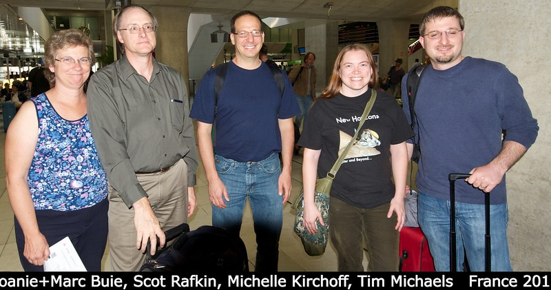 Joanie and Marc Buie, Scot Rafkin, Michelle Kirchoff, and Tim Michaels (all SwRI) gather at Charles De Galle waiting for the TGV to Nantes.<br /> <br /> Credit: Henry Throop<br /> Oct 2011