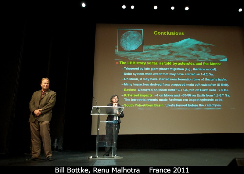 """Bill Bottke with Renu Malhotra (LPL). """"But my time can't be over yet -- I am certain I have a least five minutes left!""""<br /> <br /> Credit: Henry Throop<br /> Oct 2011"""
