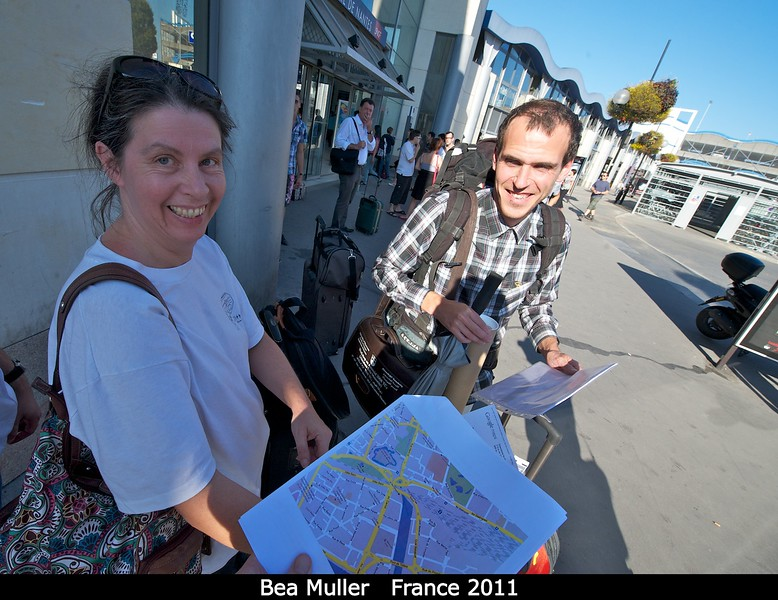 Poster tubes, maps, passports. . . where do we go now? Bea Muller (PSI) and ??<br /> <br /> Credit: Henry Throop<br /> Oct 2011