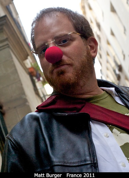 Matt Burger shows off his locally purchased fashion accessory.<br /> <br /> Credit: Henry Throop<br /> Oct 2011